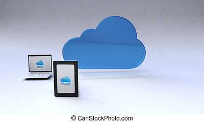 mobile, nuage, service, appareils