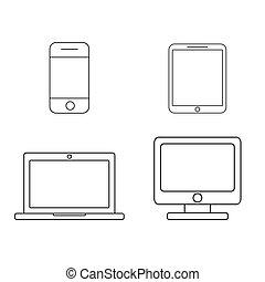 mobile, ordinateur portable, tablette, téléphone