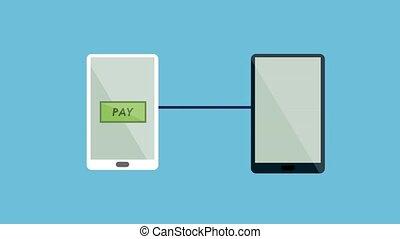 mobile, paymant, deux, appareils, entre