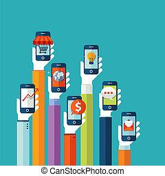 mobile, plat, conception, concept, apps