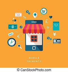 mobile, plat, conception, paiements