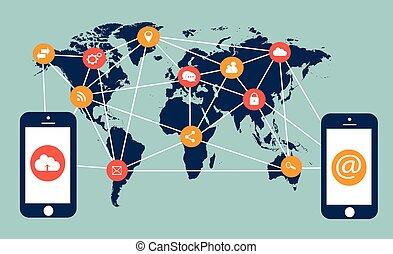 mobile, plat, média, téléphones, icônes