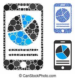 mobile, rapport, cercles, icône, composition