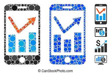 mobile, rapport, composition, icône, cercles