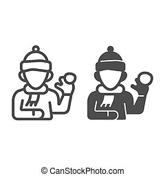 mobile., signe, icône, graphics., boule de neige, blanc, hiver, écharpe, chapeau, concept, fond, icône, contour, solide, vecteur, ligne, saison, jouer, gosse, baston, style, garçon