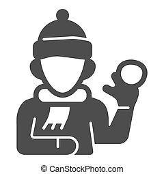 mobile., signe, icône, graphics., boule de neige, blanc, hiver, écharpe, chapeau, concept, fond, glyph, icône, solide, vecteur, saison, jouer, gosse, baston, style, garçon