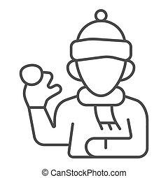 mobile., signe, icône, graphics., boule de neige, blanc, hiver, écharpe, chapeau, concept, fond, icône, contour, vecteur, ligne, saison, jouer, gosse, baston, mince, style, garçon