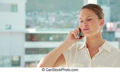 mobile, téléphoner, femme, beau
