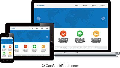 mobile, tablette, ordinateur portable, isolé, webdesign, fond, sensible