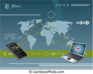mobile, technologie, fond