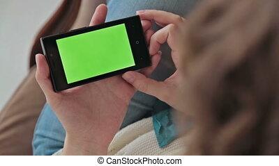 mobile, utilisation, femme, téléphone