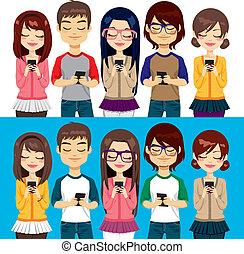 mobile, utilisation, gens, téléphones