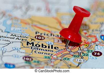 mobile, ville, alabama, épingle, carte