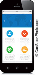 mobile, webdesign, fond blanc, sensible