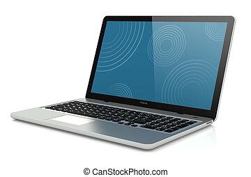 mobilité, moderne, laptop., argent