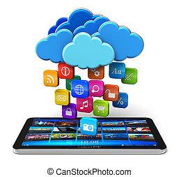 mobilité, nuage, concept, calculer