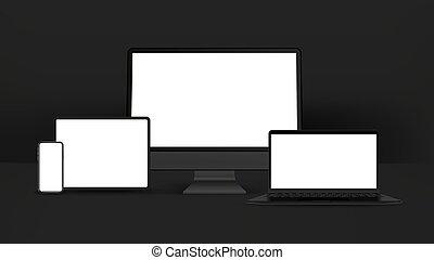 mockup, ordinateur portable, isolé, informatique, détaillé, noir, blanc, tablette, personnel, smartphone, arrière-plan., appareils, réaliste