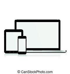 mockup, tablette, ordinateur portable, smartphone