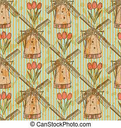 modèle, éolienne, seamless, vecteur, croquis, tulipe