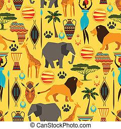 modèle, africaine, seamless, icons., stylisé, ethnique