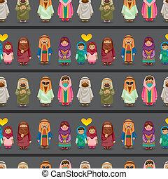 modèle, arabe, gens, seamless, dessin animé