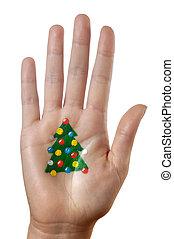 modèle, arbre, noël, main