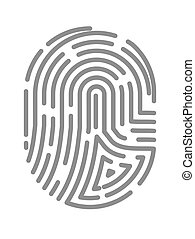 modèle, bout doigt, isolé, vecteur, empreinte doigt, impression, ou, icône