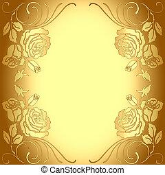 modèle, cadre, fond, or, roses