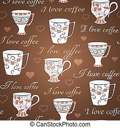 modèle, café, vecteur, amour, seamless