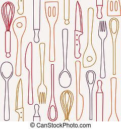 modèle, cuisine, -, seamless, ustensiles