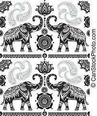 modèle, décoré, seamless, éléphants