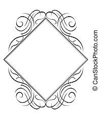 modèle diamant, cadre, rhomb, vecteur, calligraphie
