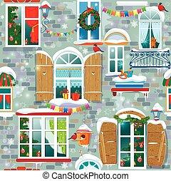 modèle, fenetres, hiver, seamless, décoratif, time., christm