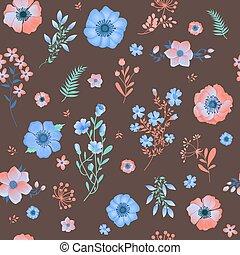 modèle, feuilles, fleurs, seamless