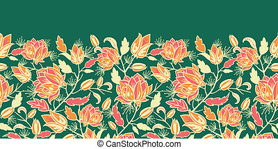 modèle, feuilles, magique, seamless, horizontal, fleurs, frontière