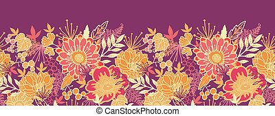 modèle, feuilles, seamless, automne, horizontal, fleurs, frontière