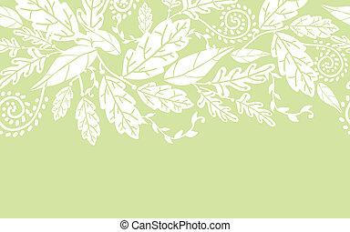 modèle, feuilles, seamless, fleurs blanches, frontière, horizontal