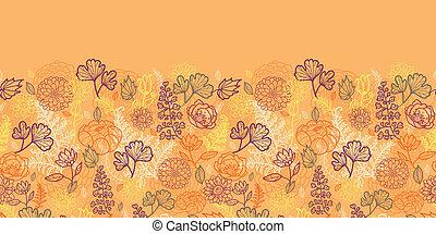 modèle, feuilles, seamless, horizontal, fleurs, frontière, désert