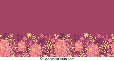 modèle, feuilles, seamless, horizontal, fleurs, frontière, rouges