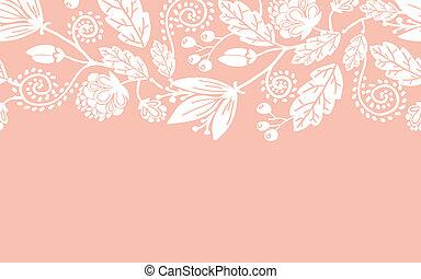 modèle, feuilles, seamless, mariage, horizontal, fleurs, frontière