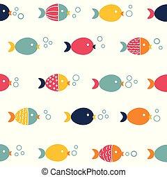 modèle, fish, seamless, coloré