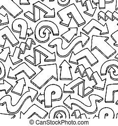 modèle flèche, seamless, /, main, vecteur, fond, dessiné