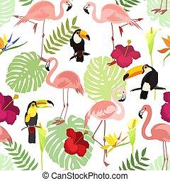 modèle, fleurs, toucan, seamless, oiseau