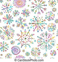 modèle, flocons neige, seamless, main, conception, dessiné, ton