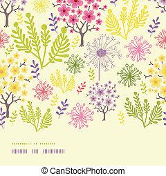 modèle, floraison, seamless, arbres, fond, horizontal, frontière