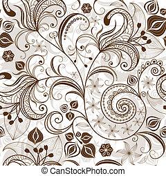 modèle floral, répéter, white-brown