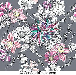 modèle floral, seamless, retro