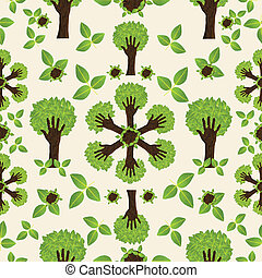 modèle, forêt verte, main