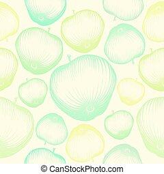 modèle, fruit, pomme, papier peint, seamless