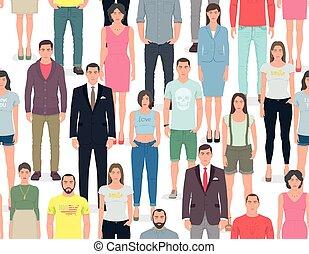modèle, groupe, seamless, gens